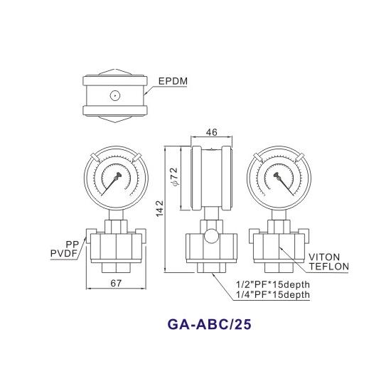 Double-Side PP Diaphragm Pressure Gauge GA-ABC1
