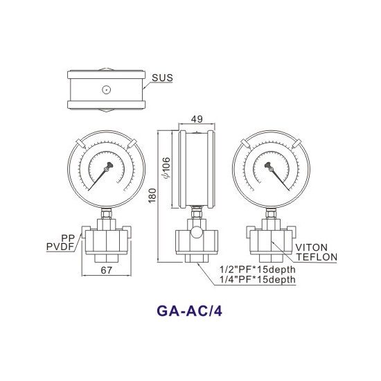 Double-Side PP Diaphragm Pressure Gauge GA-AE1