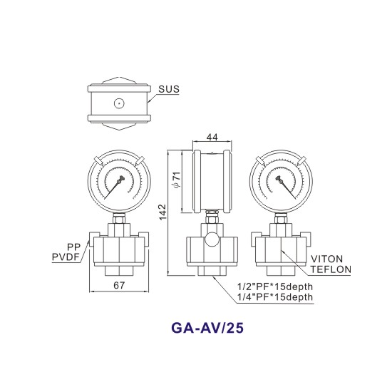 Double-Side-PP-Diaphragm-Pressure-Gauge-GA-AV1