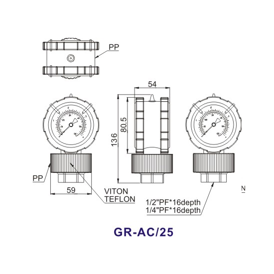 Double-Side-PP-Diaphragm-Pressure-Gauge-GR-AC25