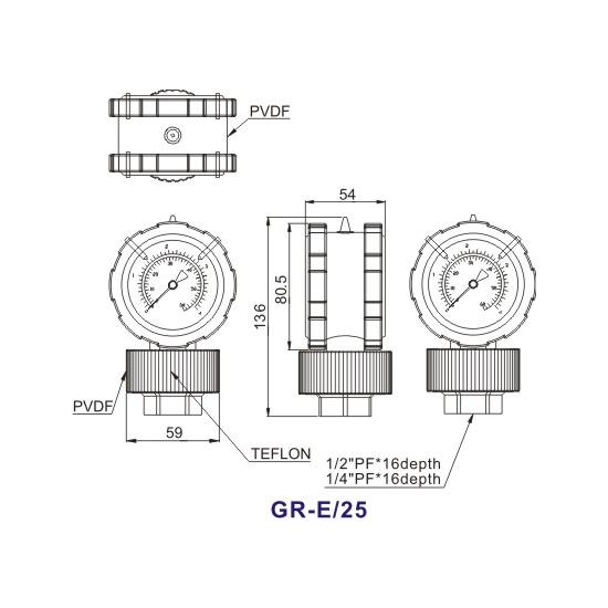 Double-Side-PP-Diaphragm-Pressure-Gauge-GR-E25