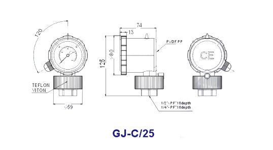 Liquid Filled PP Diaphragm Pressure Gauge GJ-C1