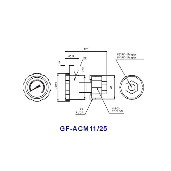 Liquid Filled PP Diaphragm Pressure Gauge Model GF-ACF1